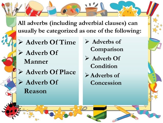 adverbial clause of comparison This animation teaches the learner to define, identify an adverb clause of time, adverb clause of place, adverb clause of reason, adverb clause of.