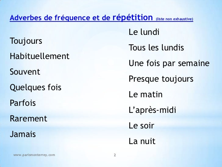 Fle Adverbes De Frequence