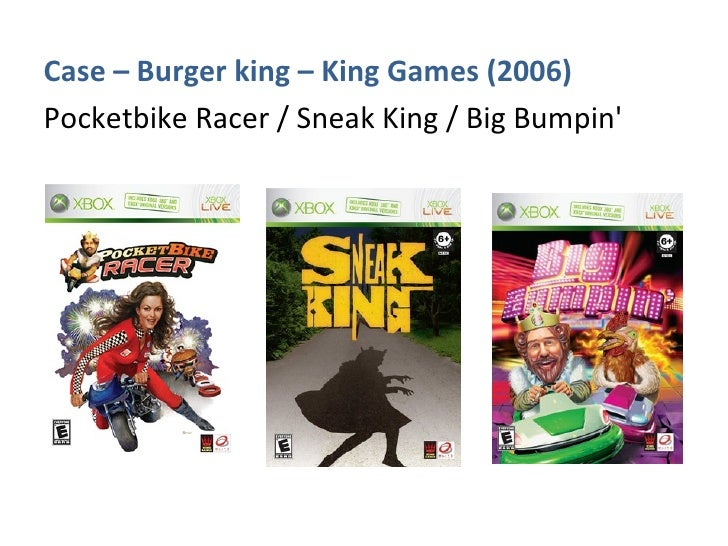 <ul><li>Case – Burger king – King Games (2006) </li></ul><ul><li>Pocketbike Racer / Sneak King / Big Bumpin' </li></ul>