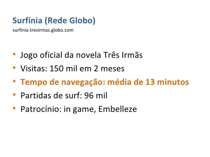 <ul><li>Surfínia (Rede Globo) </li></ul><ul><li>surfinia.tresirmas.globo.com </li></ul><ul><li>Jogo oficial da novela Três...