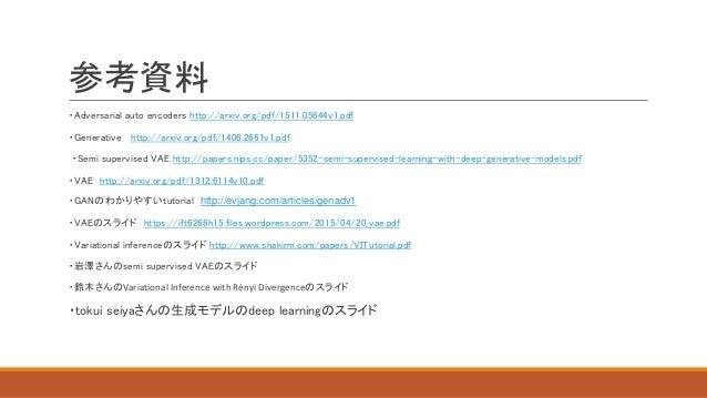 参考資料 ・Adversarial auto encoders http://arxiv.org/pdf/1511.05644v1.pdf ・Generative http://arxiv.org/pdf/1406.2661v1.pdf ・Se...