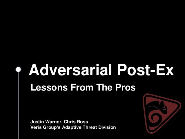 Adversarial Post-Ex Lessons From The Pros Justin Warner, Chris Ross Veris Group's Adaptive Threat Division