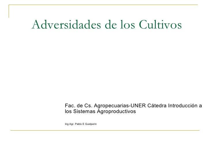 Adversidades de los Cultivos Fac. de Cs. Agropecuarias-UNER Cátedra Introducción a los Sistemas Agroproductivos Ing Agr. P...