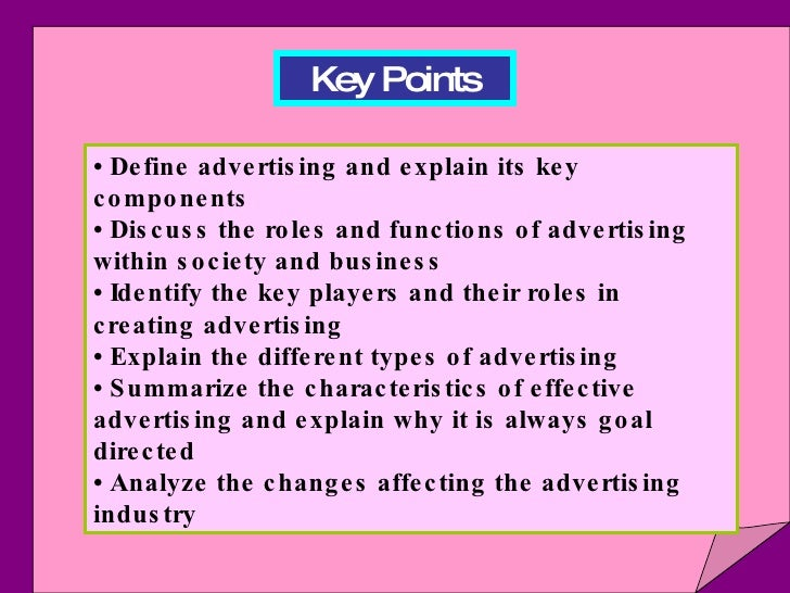 key points in advertisement An advertising strategy is a plan to reach and persuade a customer to buy is the fourth point made at the vault career guide to advertising vault, inc.