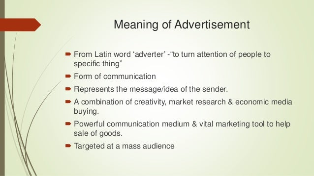 meaning of advertisment