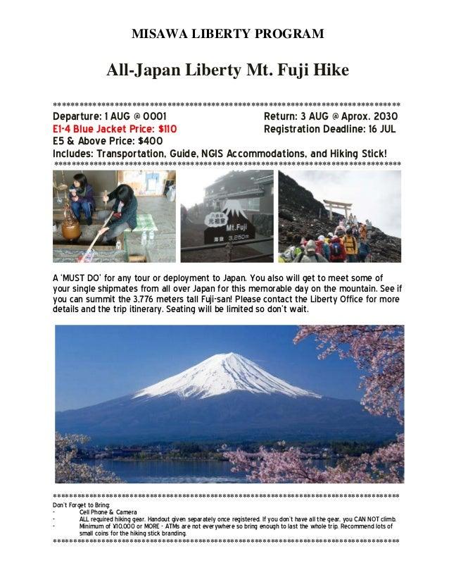 MISAWA LIBERTY PROGRAM All-Japan Liberty Mt. Fuji Hike *******************************************************************...