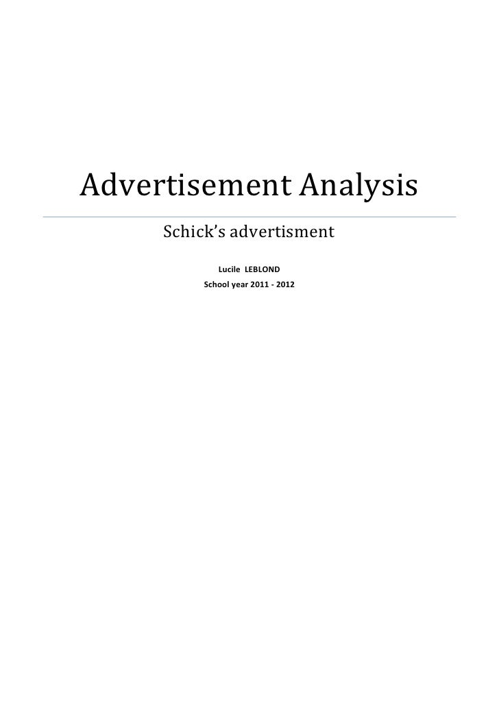 Advertisement Analysis     Schick's advertisment            Lucile LEBLOND         School year 2011 - 2012