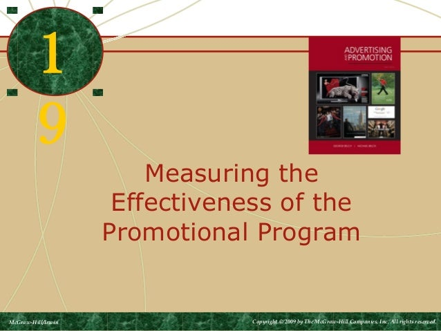 Measuring the Effectiveness of the Promotional Program 1 9 McGraw-Hill/Irwin Copyright © 2009 by The McGraw-Hill Companies...