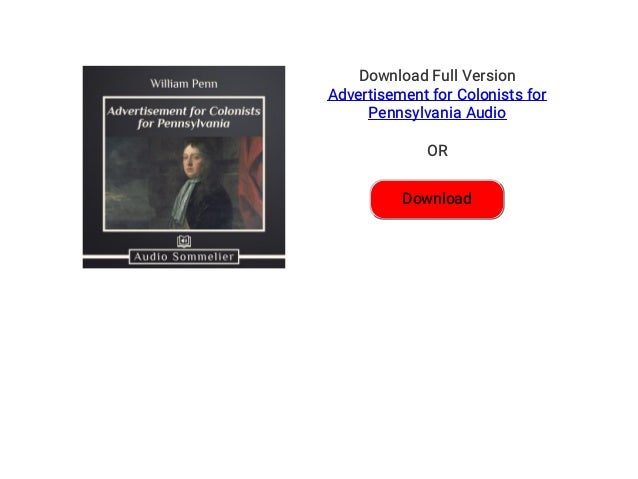 Advertisement for Colonists for Pennsylvania Audiobook Free | Adverti…