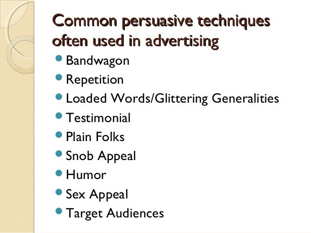 an analysis of the techniques used in advertising 4 the top five advertising techniques television is  the use of music in  television advertisements may include pop songs meant to elicit specific  emotions or.