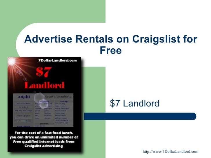 Advertise Rentals on Craigslist for Free $7 Landlord