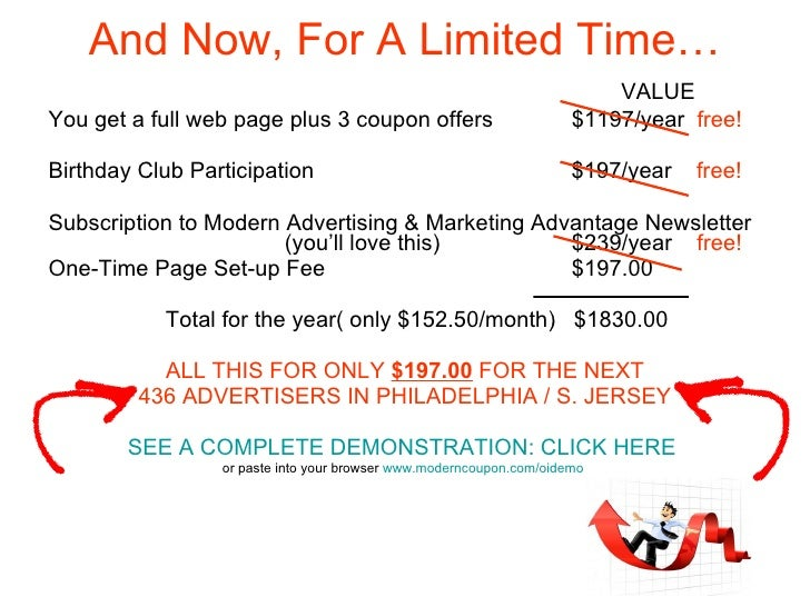 And Now, For A Limited Time… <ul><li>  VALUE </li></ul><ul><li>You get a full web page plus 3 coupon offers   $1197/year  ...