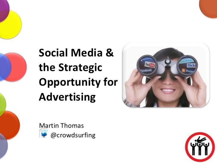 Social Media & the Strategic Opportunity for Advertising Martin Thomas @crowdsurfing