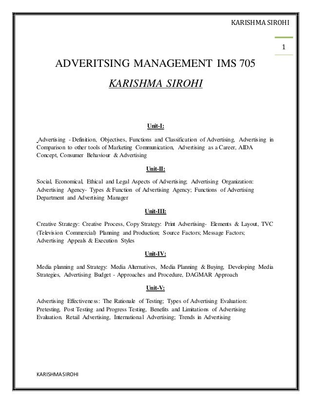 Advertising NOTES MBA