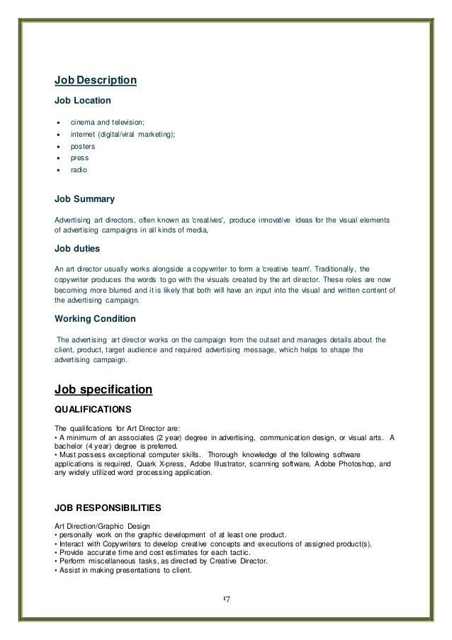 negotiation test art director 17 17 job description copywriter job description