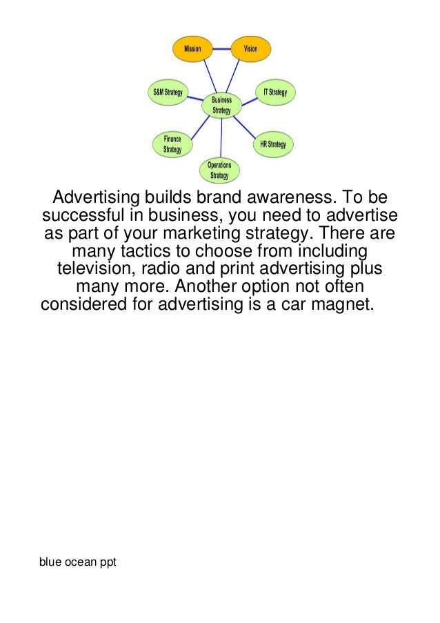 Advertising builds brand awareness. To besuccessful in business, you need to advertiseas part of your marketing strategy. ...