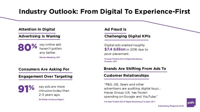 Industry Outlook: From Digital To Experience-First Attention In Digital Advertising Is Waning 80% say online ads haven't g...