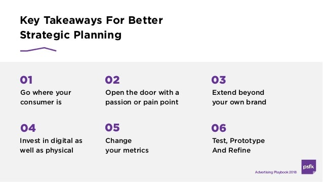 Key Takeaways For Better Strategic Planning Advertising Playbook 2018 Go where your consumer is 01 Open the door with a pa...