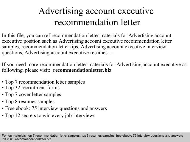 advertising account executive recommendation letter in this file you can ref recommendation letter materials for