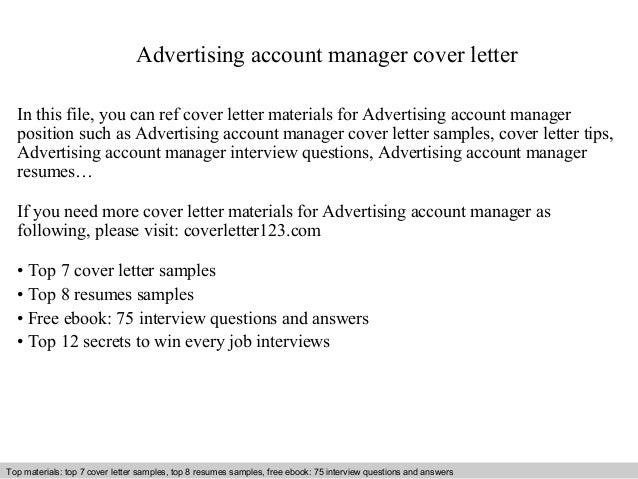 Advertising Account Manager Cover Letter In This File, You Can Ref Cover  Letter Materials For ...