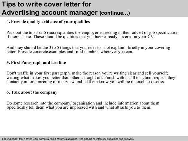 Advertising Account Manager Cover Letter .  Advertising Cover Letter Examples