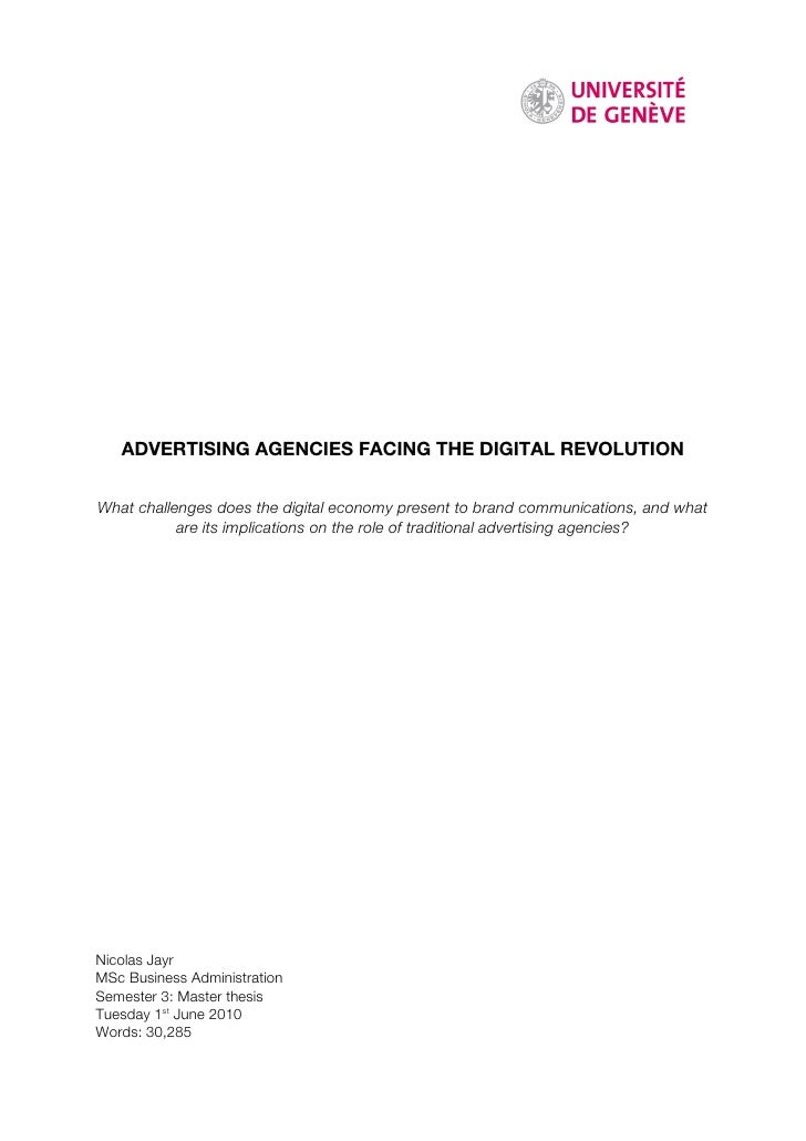 ADVERTISING AGENCIES FACING THE DIGITAL REVOLUTION   What challenges does the digital economy present to brand communicati...