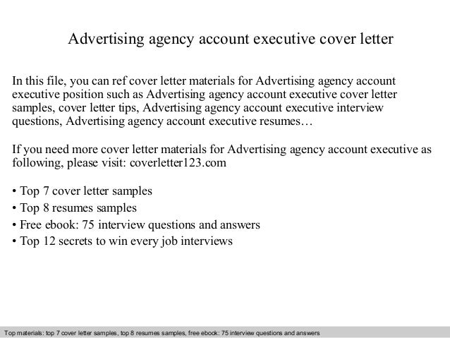 Advertising Agency Account Executive Cover Letter In This File, You Can Ref Cover  Letter Materials ...
