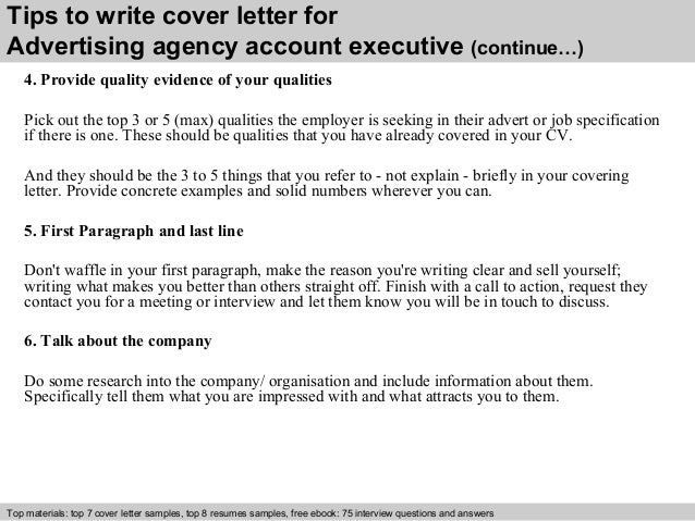 Advertising agency account executive cover letter