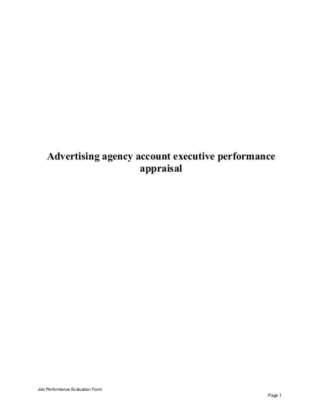 Advertising Agency Account Executive Performance Appraisal Job Performance  Evaluation Form Page 1 ...