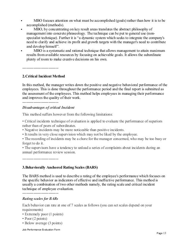 Job Performance Evaluation Form Page 12; 13.