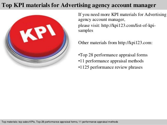 Advertising agency account manager kpi.
