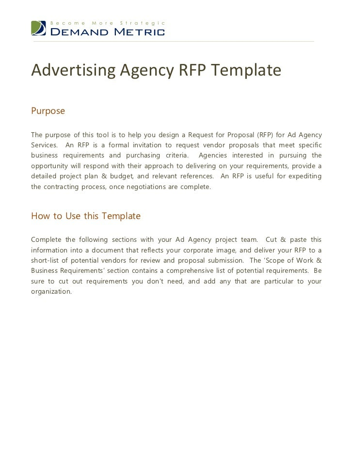 Advertising Agency RFP TemplatePurposeThe Purpose Of This Tool Is To Help  You Design A Request For ...
