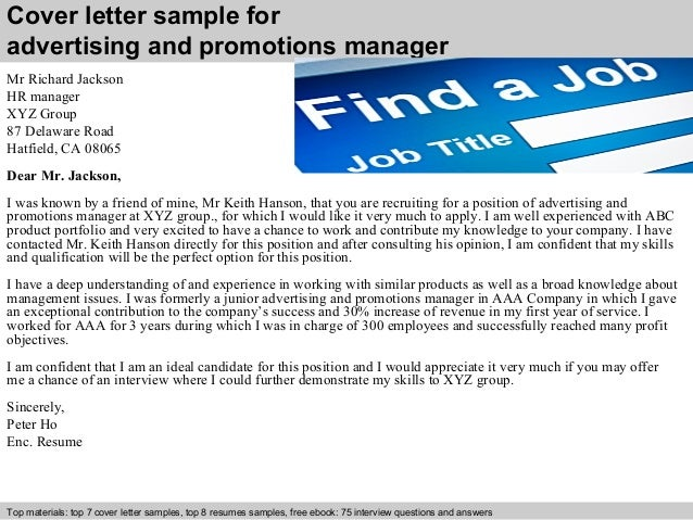 Advertising and promotions manager cover letter