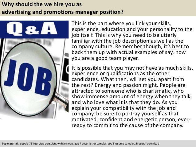 advertising and promotions manager interview questions - Advertising Manager Job Description