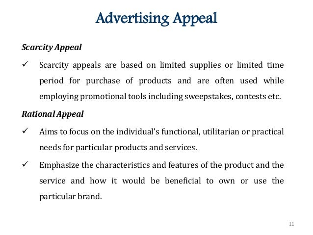 advertisement appeal The purposes of advertising are to inform, remind, convince and persuade consumers about the value and merits of specific brands advertisers use a number of specific appeals to tap into target .