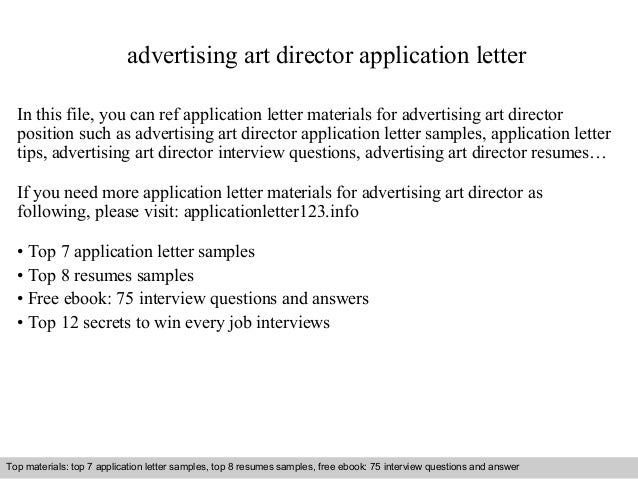 advertising art director application letter  In this file, you can ref application letter materials for advertising art di...