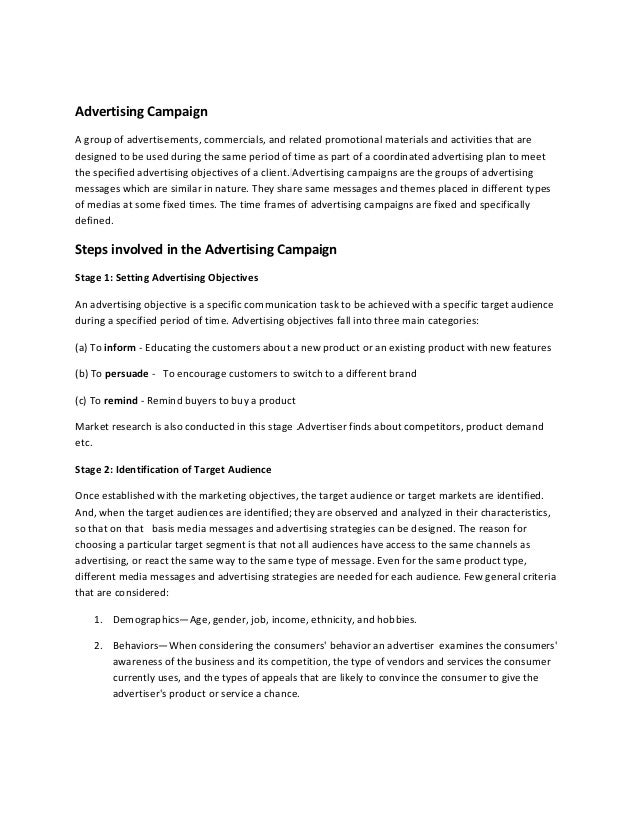 Advertising CampaignA group of advertisements, commercials, and related promotional materials and activities that aredesig...