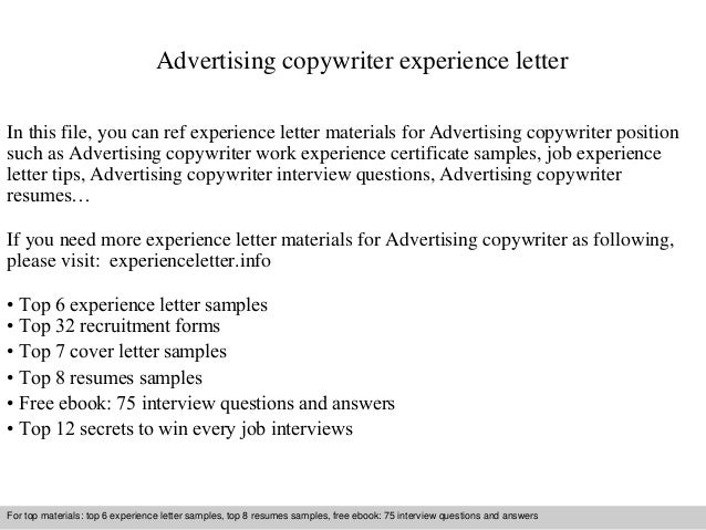 advertising copywriter experience letter in this file you can ref experience letter materials for advertising experience letter sample - Sample Ad Copywriter Resume