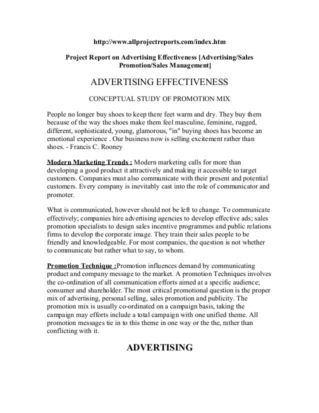 http://www.allprojectreports.com/index.htm      Project Report on Advertising Effectiveness [Advertising/Sales            ...