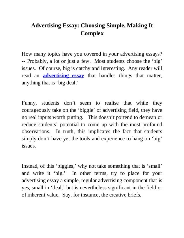 Essay On Advertising  Advertising Essay On Advertising Thesis Statement For Persuasive Essay also Argumentative Essay Thesis  English Literature Essays