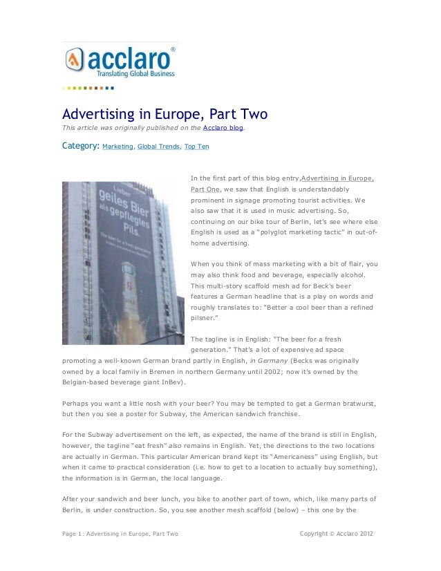 Advertising in Europe, Part TwoThis article was originally published on the Acclaro blog.Category:    Marketing, Global Tr...