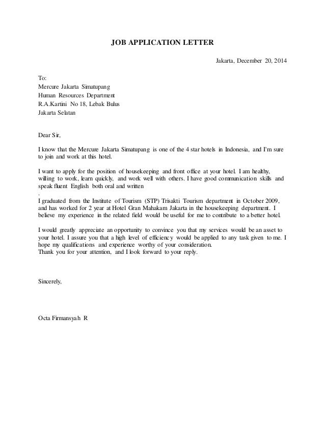 contoh application letter for hotel