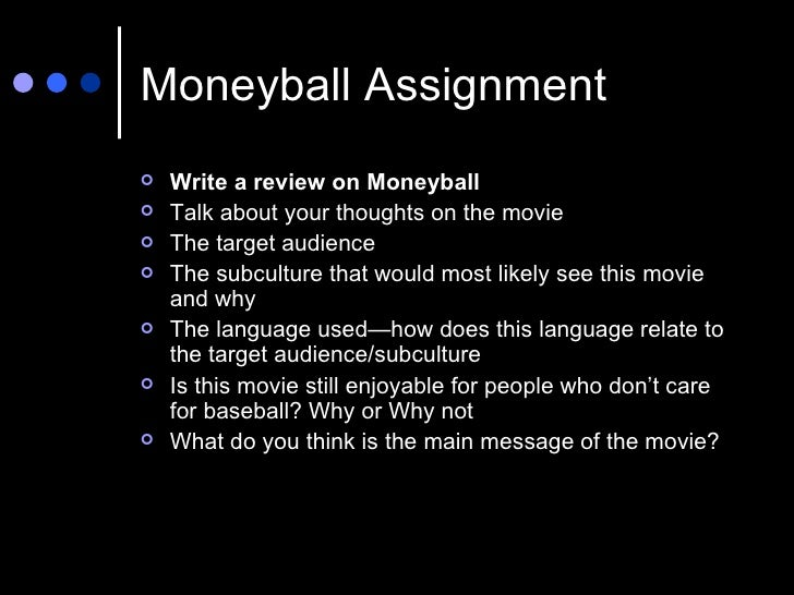 moneyball assignment Moneyball, a book by michael lewis (2003), highlights how creativity, framing, and robust technical analysis all played a part in the development of a new ap.