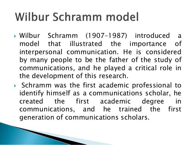 model wilbur schramm Communication models westley and maclean's model of communication march 1 wilbur schramm one of the schramm: model 1 (1954.