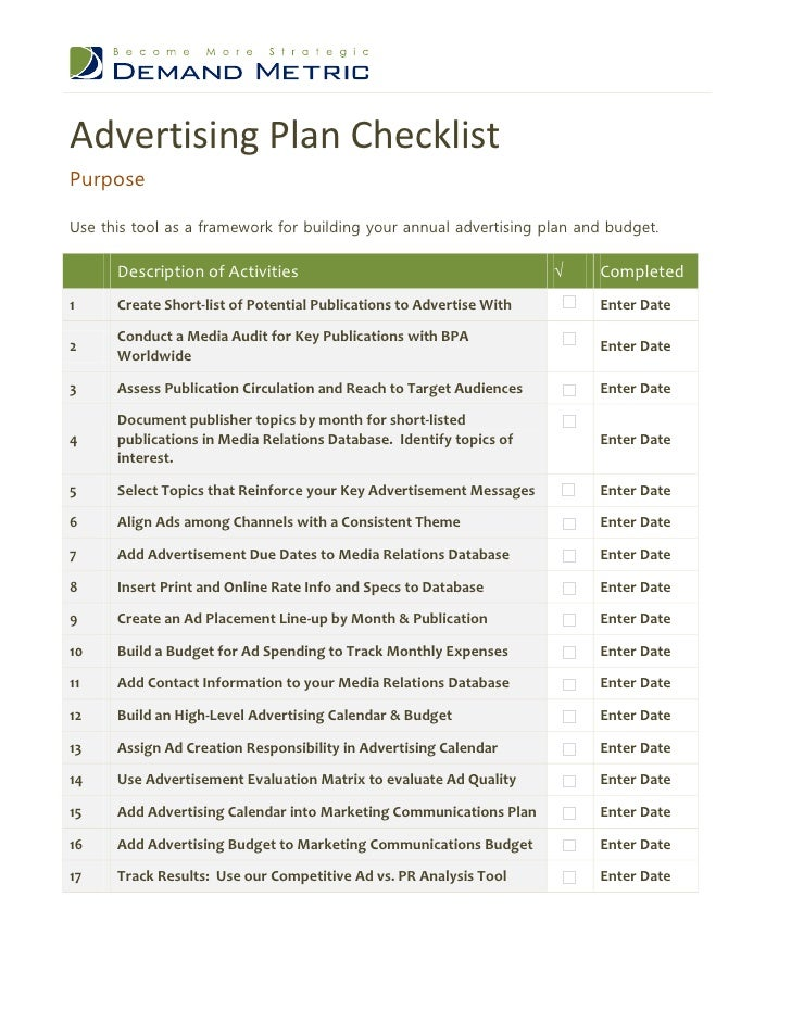 advertising plan Marketing strategy - the line between marketing and advertising is fuzzy to begin with ask 20 experts what the difference between the two is, and you'll get 20.