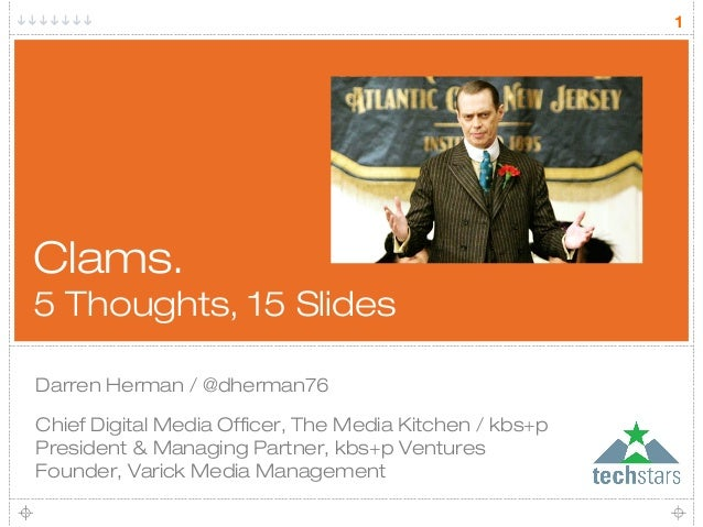 1Clams.5 Thoughts, 15 SlidesDarren Herman / @dherman76Chief Digital Media Officer, The Media Kitchen / kbs+pPresident & Ma...