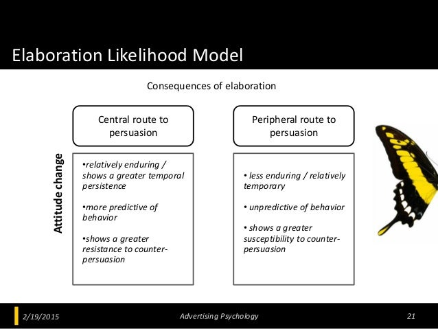 Elaboration Likelihood Model 2/19/2015 Advertising Psychology 21 Central route to persuasion Peripheral route to persuasio...