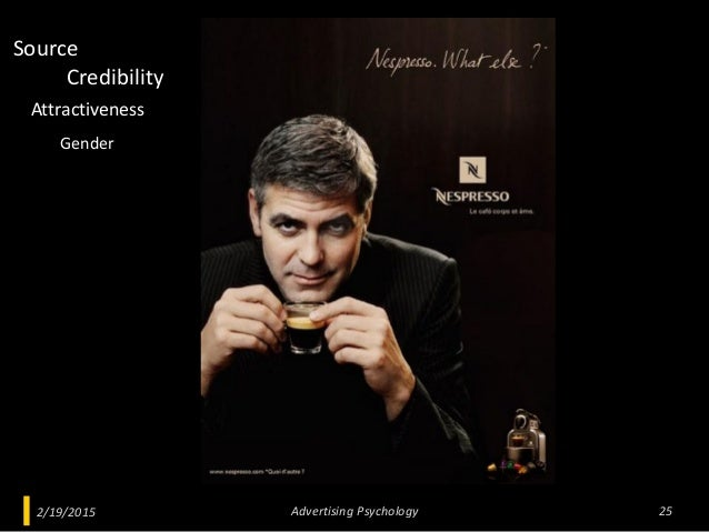 2/19/2015 Advertising Psychology 25 Credibility Attractiveness Source Gender
