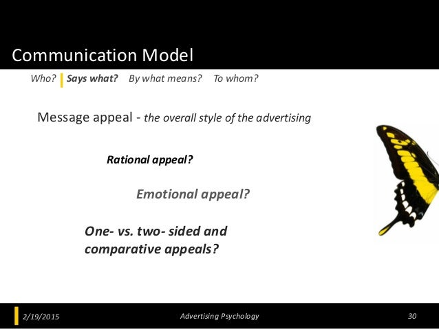 Communication Model Message appeal - the overall style of the advertising 2/19/2015 Advertising Psychology 30 Who? Says wh...