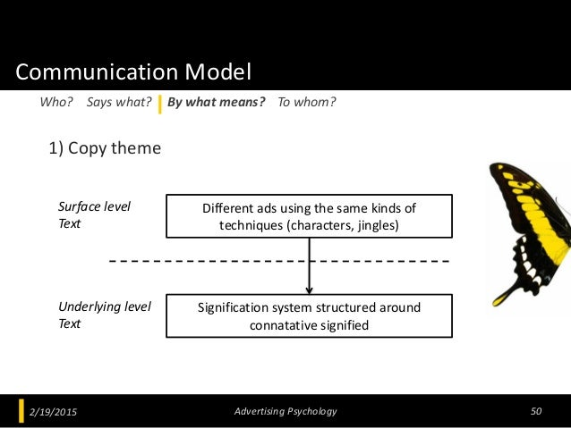 Communication Model 1) Copy theme 2/19/2015 Advertising Psychology 50 Who? Says what? By what means? To whom? Surface leve...